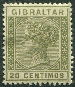 GIBRALTAR-1896 20c Olive-Green Sg 25 MOUNTED MINT V50227