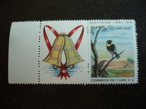 Stamps - Cuba - Scott#691 - MNH Single Stamp plus label with selvedge
