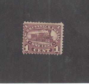 NEW BRUNSWICK (MK3932) # 6 F-MNG 1cts  LOCOMOTIVE /1860 /RED LILAC CAT VALUE $20