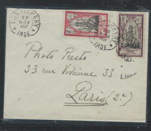 FRENCH INDIA (PP0110B) 1927 2C/5C+12C/30C COVER TO PARIS