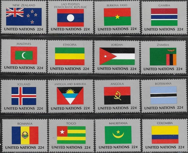 United Nations 1986 New York Flags of the Member Nations SC# 477-492 MNH