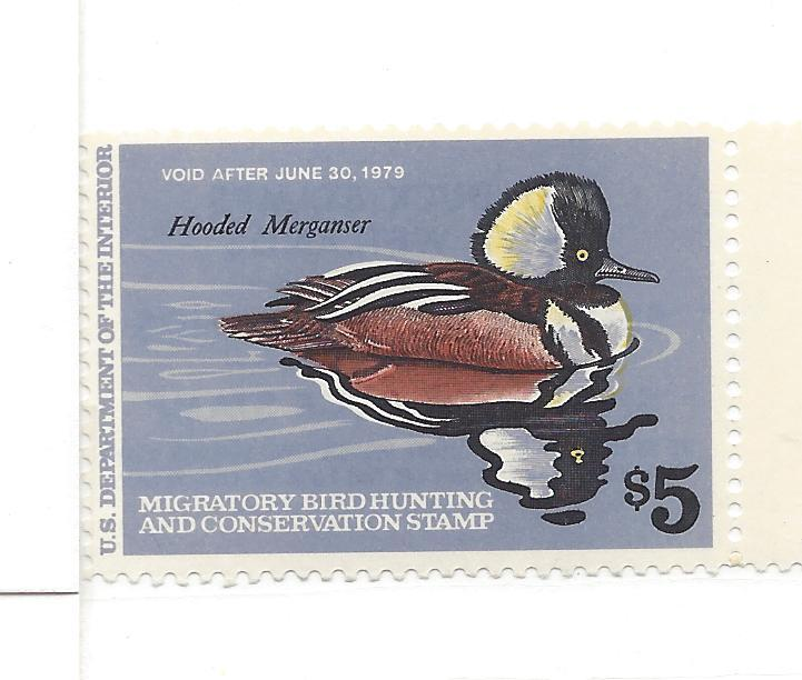 United States, RW45, $5 Hooded Merganser Duck Single, MNH