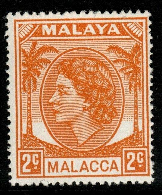 MALAYA MALACCA SG24 1955 2c YELLOW-ORANGE MNH
