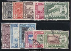 1960 Malaya Penang 1c - $5 Definitives, set of 11, SG 55-65, used