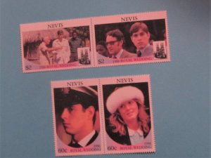 Nevis - 381-82, MNH Set in Pairs. Royal Wedding. SCV = $2.10