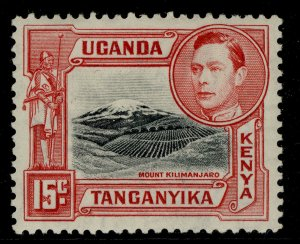 KENYA UGANDA TANGANYIKA GVI SG137, 15c black/rose-red, M MINT. Cat £32. PERF 13¼