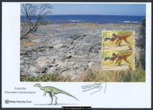 24-Sep-2013 Australia Age of Dinosaurs Prestige Booklet Pane Wesley FDC (a)