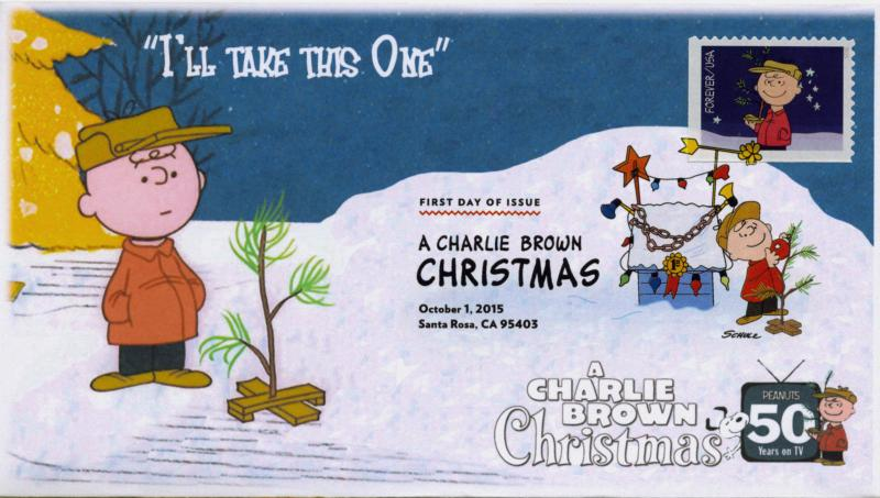 SC 5021, 2015, Charlie Brown Christmas, FDC, DCP, Carry Tree, 15-270