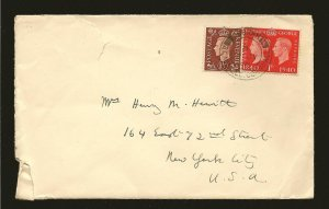 Great Britain 237 & 253 on Postmarked St Austell Cornwall 1940 Cover to USA Used