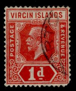 BRITISH VIRGIN ISLANDS GV SG70a, 1d scarlet, USED. Cat £14.