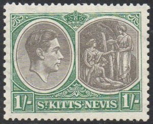 St Kitts-Nevis 1938 1/- black and green (P13x12) MH