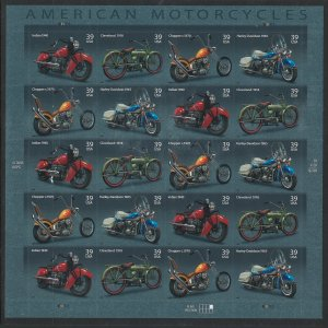 US Scott 4088 Sheet of 20! Motorcycles!