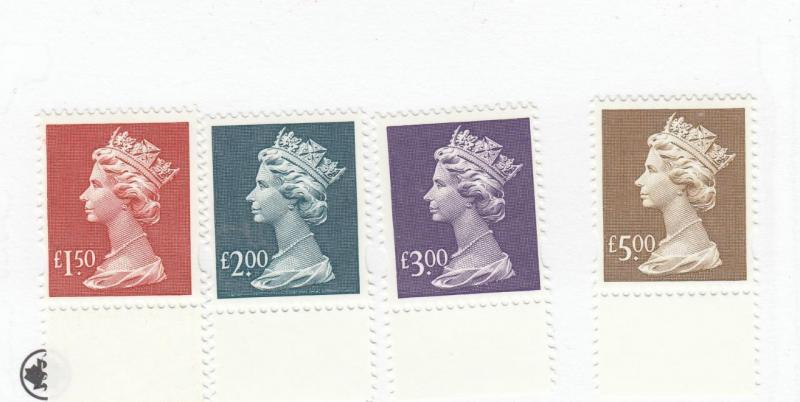 GB MNH VF-HIGH VALUE SMALL TYPE MACHINS TO 5 GBP's