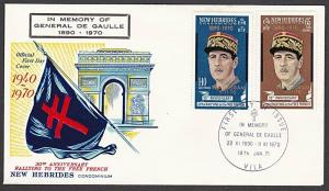 NEW HEBRIDES 1970 de Gaulle FDC - Memorial added to cover..................55222