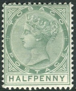 TOBAGO-1886 ½d Dull Green SLASH FLAW.  A mounted mint Sg 20a