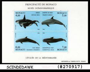 MONACO - 1994 MARINE LIFE - WHALES - FISH - Miniature sheet -  MINT NH