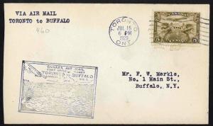 CANADA 1929 Toronto, Canada to Buffalo, U.S.A. FFC