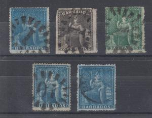 Barbados Sc 16/33 used 1861-1871 issues, 5 diff sound & F-VF