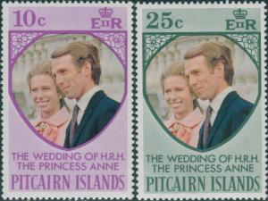 Pitcairn Islands 1973 SG131-132 Royal Wedding set MNH
