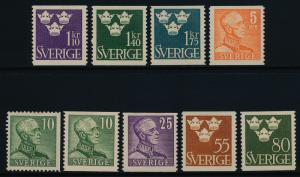 Sweden 391-9 MH King Gustaf V, 3 Crown