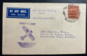 1938 Gwalior India First Flight Airmail cover FFC To Karachi Flying Boat