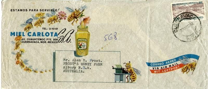 Mexico Scott C255 On Attractive Multi-Color Ad Cover for Miel Carlota Honey