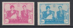 Iran Sc 1186-1187 MNH. 1961 Birth of the Crown Prince, cplt set, fresh, F-VF.