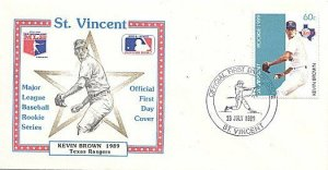ST. VINCENT 1989 BASEBALL KEVIN BROWN TEXAS FDC
