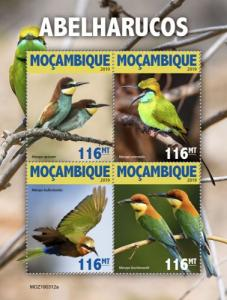 MOZAMBIQUE - 2019 - Bee Eaters - Perf 4v Sheet - MNH