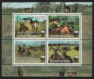 Guinea-Bissau WWF Defassa Waterbuck 4v in block 2*2 MI#3919-3922