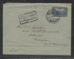 TURKEY COVER (PP0605B) 1915 1 STAMP COVER BROUSSE TO USA, SEAL ON BACK