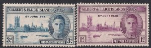 Gilbert & Ellice 1946 KGV1 Set of Victory Umm SG 55 - 56 ( A391 )