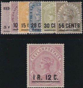 Ceylon 1885-1887 SC 124-130 MLH Set