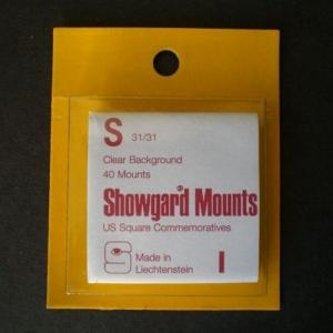 Showgard Stamp Mounts Size S 31 / 31 CLEAR Background Pack of 40
