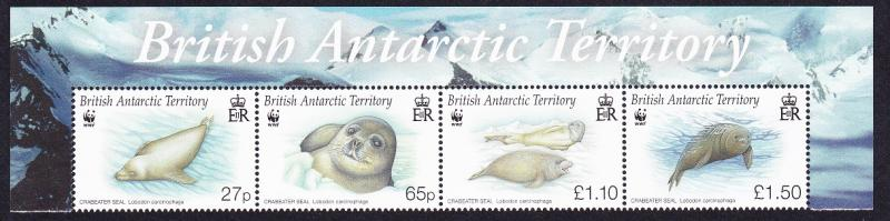 BAT WWF Crabeater Seal Strip with Territory's name SG#506-509 SC#505-508