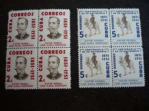 Stamps - Cuba - Scott# 529-530 - Mint Hinged Set of 2 Stamps in Blocks of 4