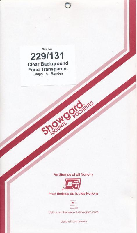 Showgard Stamp Mount 229/131 CLEAR Background Pack of 5