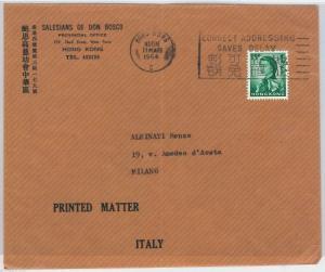 HONG KONG --  POSTAL HISTORY:  COVER to ITALY 1964 -- Printed Matter