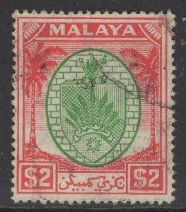 MALAYA NEGRI SEMBILAN SG61 1949 $2 GREEN & SCARLET FINE USED