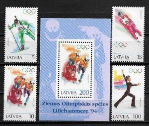 1994 Latvia 356-60 Winter Olympics C/S with sheet MNH SCV$22.00