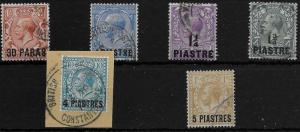 BRITISH LEVANT SG35/40 1913-4 OVERPRINTS ON GB SET USED