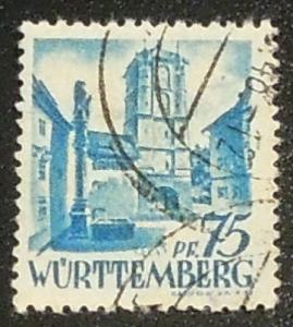 Germany Occupation Wurttemberg 1947-48 75pf Scott 8N11 used