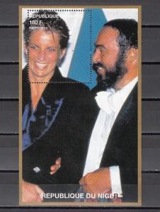 Niger, 1997 Cinderella issue. Diana s/sheet with Opera Singer Pavarotti.