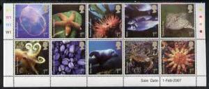 Great Britain 2007 Sea life perf set of 10 values unmount...
