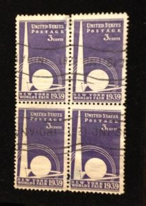 US Sc 853 Used Zip Block Of Four F-VF