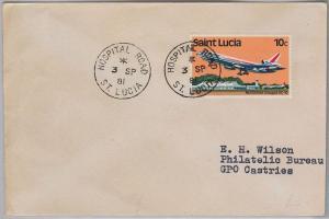 39806  ST LUCIA -  POSTAL HISTORY - COVER  postmark: HOSPITAL ROAD 1981 Medicine