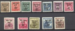 Sudetenland, Rumburg 1938 Lot of 12 different, MLH,  no faults,