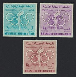 Yemen Olympic Games Tokyo 3v 1964 MNH SG#R52-R54