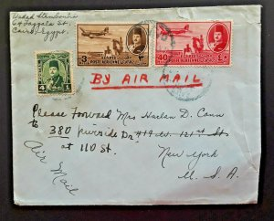 1947 Cairo Egypt To New York New York Multi Franked Forwarded Airmail Cover