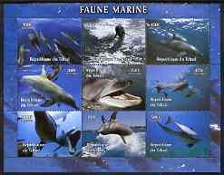 Chad 2004 Marine Animals perf sheetlet containing 9 value...